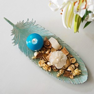 【Creative Co-Op Home】トレー フェザー,Aqua Resin Feather Shaped Tray