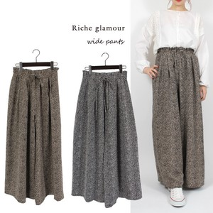 Pudding Leopard Gather wide pants