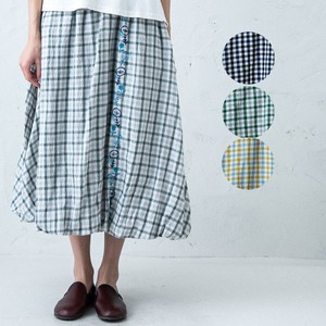 S/S Line Embroidery Gingham Check Balloon Skirt