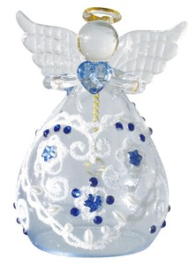 Glass Heart Lace Angel Objects and Ornaments Ornament