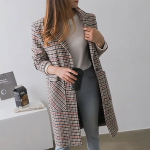 Color Checkered Pattern Stand-fall Collar Coat