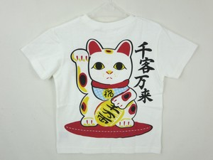 [2019NewItem] Items Jersey Stretch Japanese Pattern T-shirt Beckoning cat