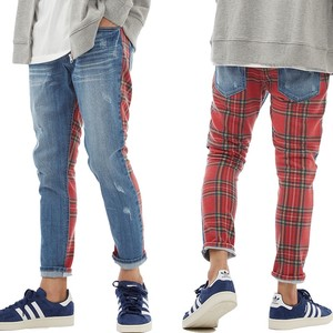 S/S Men's Tartan Check Fleece Sweat Switching Ankle Damage Denim Pants