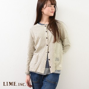 S/S Cardigan French Linen Jersey Stretch Dot Print
