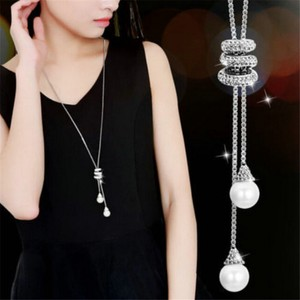 Pearl Design Silver Chain Tassel Necklace