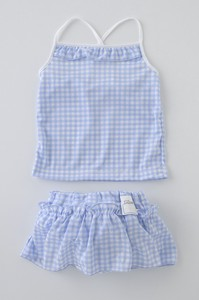 Water Playing Cami Skirt Checkered Pattern
