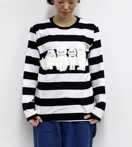 Long Sleeve Border T-shirt cat Foaming