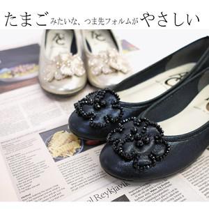 【2019新作】バレエパンプス コサージュ 日本製ビジュー フラットシューズ 靴 レディース 歩きやすい