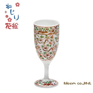 Flower Wine Glass Red Drawing Painting Mino Ware