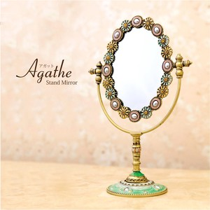 Stand Alone Mirror Oval Pastel Flower