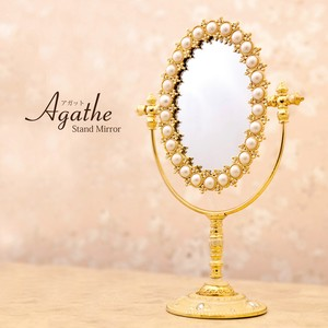 Stand Alone Mirror Oval Pearl Jewelry