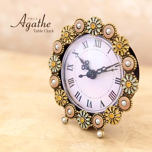Table Clock Table Clock Pastel Flower Round