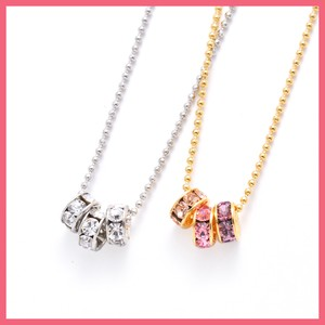 Rhinestone Triple Ring Necklace