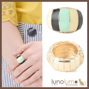 Ring Ladies Free Size Turquoise Stripe Gold Stretch Ring
