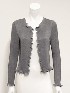 Frill Embroidery Pleats Non-colored Jacket