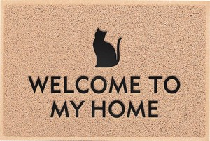 Entrance Mat Black cat Beige