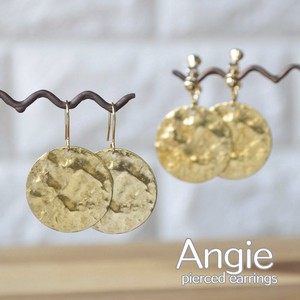 Brass Coin Gold Pierced Earring Earring