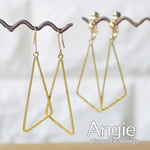 Brass Triangle Gold Pierced Earring Earring