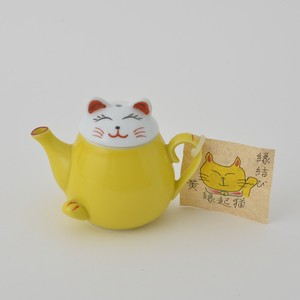 Beckoning cat Yellow Soy Sauce HASAMI Ware 10cm