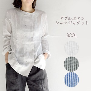 For Summer Single Stripe Double Button Shirt Jacket