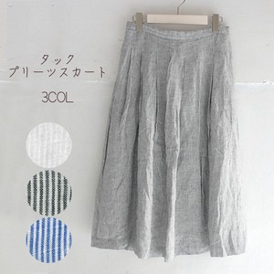 For Summer Single Stripe Tuck Pleats Skirt