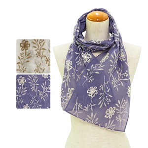 S/S Stole Flower Leaf Embroidery Stole Natural Stole