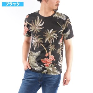 [2019NewItem] Aloha T-shirt Repeating Pattern Print Botanical Hibiscus Floral Pattern Leaf