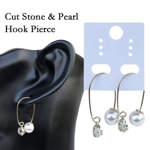 Cut Stone Pearl Hook Pierced Earring Pierced Earring