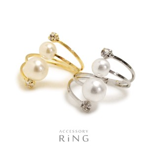 Double Beautiful Double Pearl Stone Fork Ring Ring