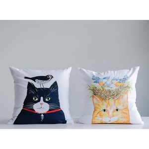【Creative Co-Op Home】Mary Square Cotton Cushion w/ Cat, クッション