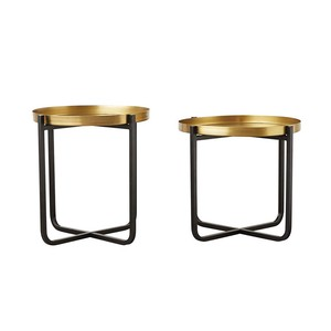 【Creative Co-Op Home】テーブル ,Metal Tables, Black & Brass Finish, Set of 2