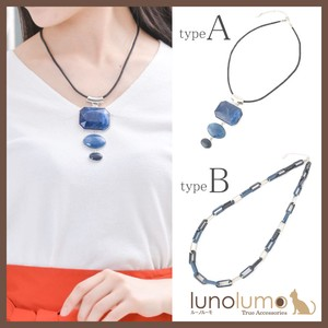 Necklace Pendant Navy Silver Chain Long Necklace Casual