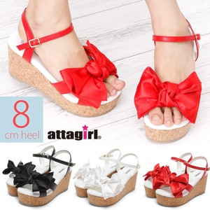 Wedged Heel Ribbon Motif Strap Sandal