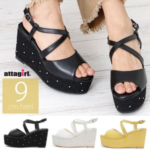 9cm Wedged Heel Closs Strap Sandal