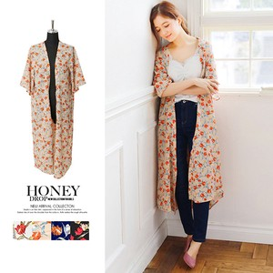 S/S Floral Pattern Robe Long Cardigan