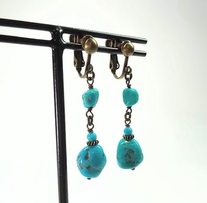 Turquoise Twin Brass Antique Earring