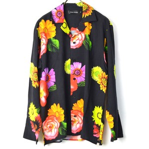 Botanical Floral Pattern Rayon Material Open Color Long Sleeve Shirt