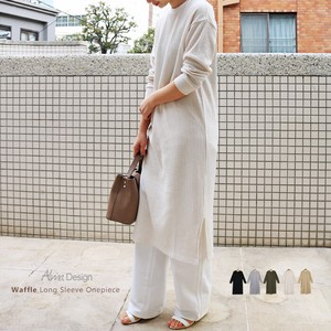 Waffle Long Sleeve Crew Neck Long One-piece Dress