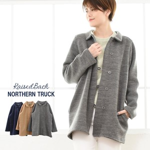 Raised Back Fleece Coat Jacket Stand-fall Collar Coat