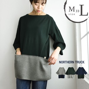 Knitted Tunic Natural Plain Bi-Color Three-Quarter Length