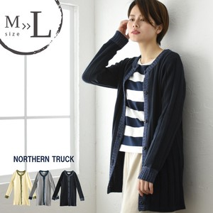 Long Cardigan Knitted Crew Neck Sweater Bi-Color