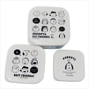 【お弁当箱・シール容器】スヌーピー/入れ子ランチボックス3Pセット/フェイスいっぱい