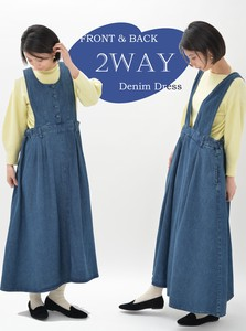 Denim One‐piece dress.