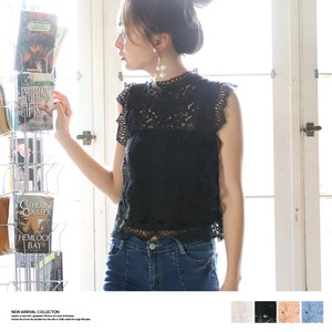 S/S Sleeveless Lace Blouse Top
