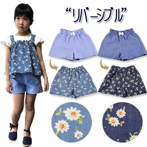 S/S Toddler Chambray Floral Pattern Denim Reversible Culotte 30cm