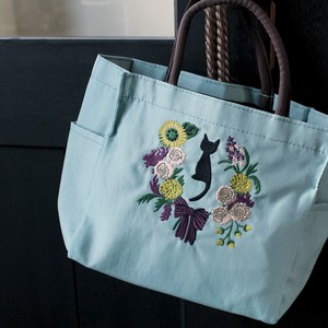 Embroidery Series Birthday Wreath Pocket Square Tote