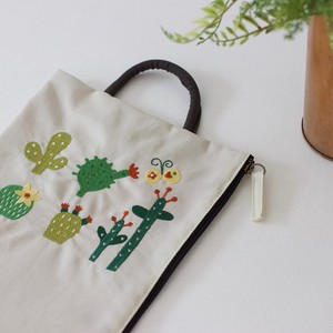 Embroidery Series Cactus Nylon Purse Flat Pouch