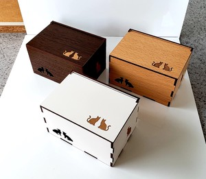 cat Silhouette With Lid Fancy Goods Storage Laser Processing
