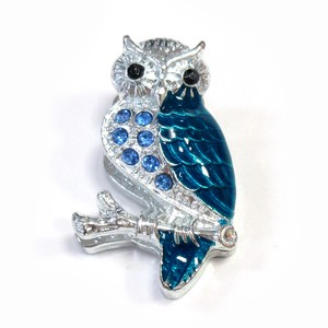 Fancy Stationery Daily Necessity Interior Accessory Glitter Owl Magnet Silver Blue