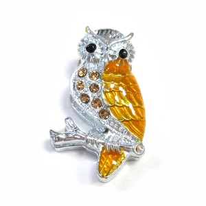 Fancy Stationery Daily Necessity Interior Accessory Glitter Owl Magnet Silver Yellow
